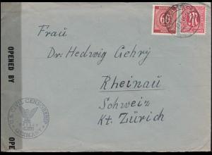 Zensur 8 AM-Post mit 933 Gemeinschaft MiF Brief KIRCHHEIM 27.5.46 in die Schweiz