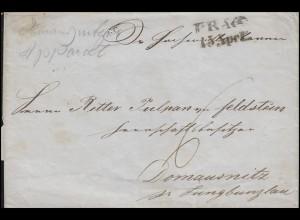 Österreich-Ungarn Vorphilatelie Briefhülle PRAG 15. April nach Domausnitz