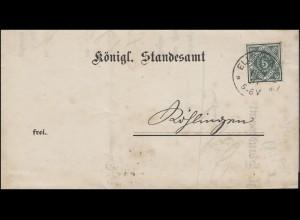 103 Dienstmarke 5 Pf. EF Königl. Standesamt ELLWANGEN 3.12.1891 nach RÖHLINGEN