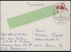 Berlin 40 Pf Unfall RE 1+4, Postkarte SSt Velbert Schloss- und Beschläge Museum
