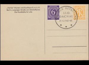 Sonderstempel TAG DER BEFREIUNG I.I.L. DACHAU 27.4.1945-46 auf Ansichtskarte