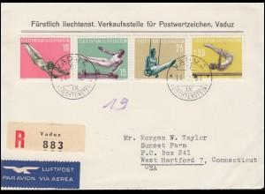 Liechtenstein 353-356 Sport Turnen -Satz auf R-Lp-FDC Verkaufsst. VADUZ 14.5.57