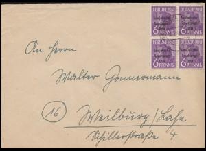 183 SBZ-Aufdruck im Viererblock auf Brief SCHWARZE (SAALE) 12.8.1948