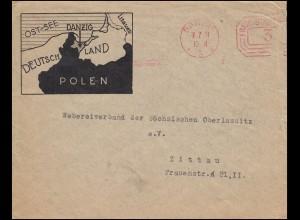 Absenderfreistempel FREIE STATT DANZIG 7.7.1931 als Drucksache 3 Pf. nach Zittau