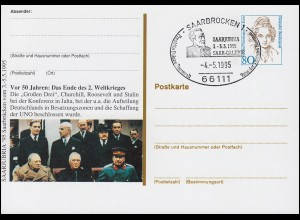 Privatpostkarte Frauen 80 Pf Ende des 2. Weltkrieges SSt SAARBRÜCKEN 4.5.95