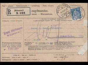 170a Sitzende EF Einzugsmandat / NN-Einschreiben WÄDENSWIL 4.4.1922
