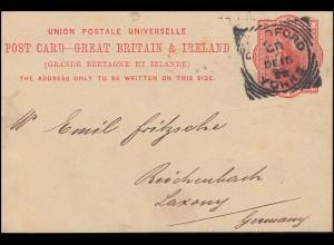 Großbritannien Postkarte P 26 Königin Viktoria, BRADFORD 16.12. nach Deutschland