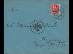 107 Dienstmarke EF Brief Wahlzettel-Umschlag MESCHEDE 29.12.1925 nach Hannover