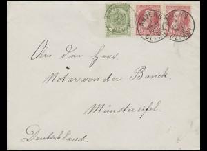 Belgien 52a Wappen + 71 Leopold II. MiF Bf ANVERS DEPART 3.7.06 n. Münstereifel