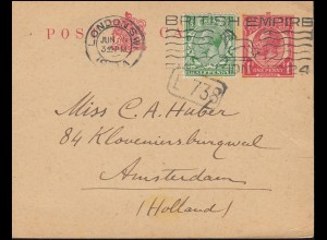 Großbritannien Postkarte P 48 Georg V. mit Zusatzfr. LONDON 5.6.1924 n. Holland