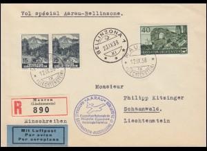 Sonderflug Aarau-Bellinzona Briefmarkenausstellung Aarau R-Brief MAUREN 12.9.38