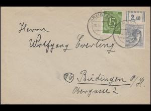 Kontrollrat I+II MiF 922+ 947 W OR auf Brief DARMSTADT 30.5.47 nach Büdingen