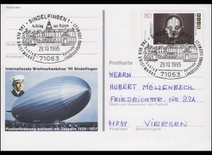 PSo 40 Sindelfingen Postbeförderung Zeppelin SSt Aufstieg aus Ruinen 29.10.95