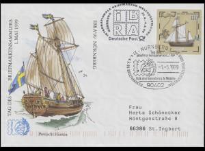 USo 8 IBRA & Postjacht Hiorten, SSt Nürnberg FIP-Logo 1.5.99 & IBRA-Nebenstempel