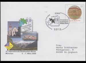 USo 175 Briefmarkenbörse München, FDC Erstverwendung Bonn ALPEN-ADRIA 12.2.2009