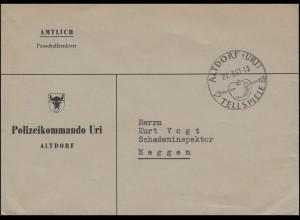 Schweiz Dienstbrief Polizeikommando Uri mit SSt ALTDORF 27.3.1957 nach Meggen