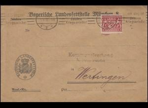 Bayern: 27 Dienst 15 Pf EF Brief Landesfettstelle MÜNCHEN 5.10.18 nach Wertingen