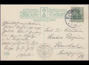 16. Deutsches Bundesschiessen Hamburg 1909 passende AK mit SSt HAMBURG 10.7.09
