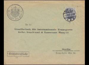 68 Germania EF Reichsdienstsache Reichsamt des Inneren Ortsbrief BERLIN 4.2.1905