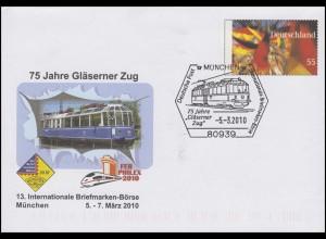 Plusbrief USo 201 Gläsener Zug, SSt München Börse Eisenbahn 5.3.2010