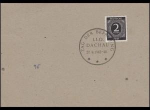 912 Ziffer 2 Pf Blanko-Stempelkarte SSt TAG DER BEFREIUNG I.I.O DACHAU 27.4.1945