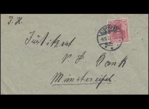 Germania 40 Pf. EF Brief von EISERFEY 9.12.20 nach Münstereifel