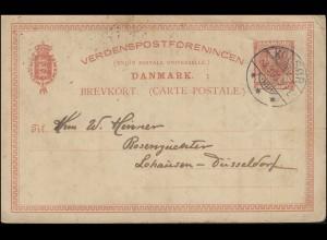 Dänemark Postkarte P 129 König Christian 10 Öre KORSÖR 3.9.09 nach Düsseldorf