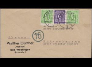 AM-Post 2x5 Pf. mit Gemeinschaft 6 Pf. Bf. BAD WILDUNGEN 12.4.46 n. Uttershausen