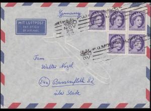 Kanada / Canada 293 Königin Elisabeth II als 5er-Block, Brief MONTREAL 28.11.60