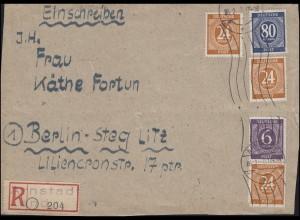 916ff Ziffern-MiF Not-R-Zettel Arnstadt Land, Briefvorderseite ARNSTADT 6.2.47