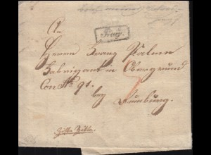 Österreich-Ungarn Faltbrief kleiner Kastenstempel Prag nach Nürnberg, um 1825