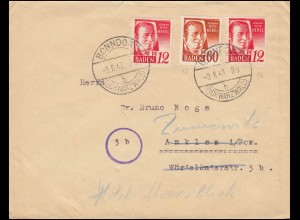 Franz. Zone Baden 10+18 Freimarken auf Brief BONNDORF (SCHWARZWALD) 9.8.1948
