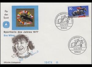 Eva Wilms / Fünfkämpferin - Sportlerin des Jahres 1977, FDC Springreiten 1978