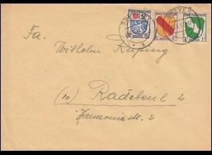 1+4+7+ Freimarken Wappen 1, 8 und 15 Pf als MiF auf Brief SPEYER 4.1.1947