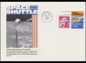 USA: Space Shuttle Columbia mit computergesteuerten Greifarm, Umschlag 1982