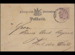 Postkarte P 22 Ziffer 5 Pf. lila, HEILBRONN 10.8.79 nach WEIL D. STADT 11.8.