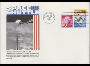 USA: Space Shuttle Columbia mit Roboter- Greifarm, Schmuck-Brief 1982