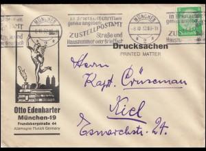 Hindenburg 5 Pf. Drucksache MÜNCHEN 8.10.32 mit Zustellpostamt-Werbung nach Kiel