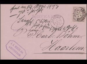 Niederlande 33 Ziffer 2½ C. EF Postkarte AMSTERDAM 14.11.93 n. HAARLEM 14.11.93