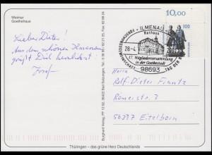 1934 Goethe, EF AK Weimar Goethehaus, SSt Ilmanau Goethestadt Rathaus 28.4.2001