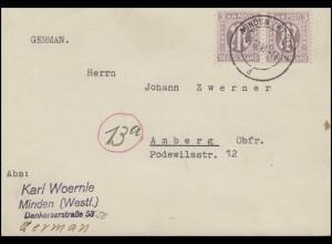 AM-Post 2x 3 Pf. Paar MeF Postkarte von MINDEN (WESTF) 5.12.45 nach Amberg