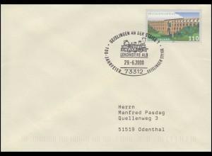 LOKOMOTIVE ALB Geislinger Steige, Brief SSt Geislingen an der Steige 29.6.2000