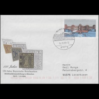 USo 11 Bayerische Briefmarken, FDC ESSt München Bayerischer Landtag 14.10.99