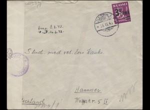 Zensur Brief aus Finnland 277 Löwe mit Aufdruck NASTOLA 25.11.1943 nach Hannover