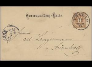 Österreich Postkarte P 43 Kammgarnfabrik VÖSLAU 20.10.84 n. Nürnberg 21.10.84