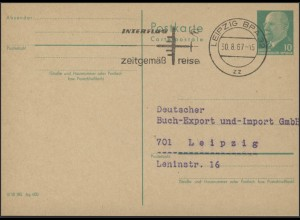 P 75 Ulbricht 10 Pf. Werbestempel Leipzig 30.8.67 INTERFLUG zeitgemäß reisen