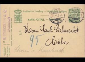 Luxemburg Postkarte P 70 von DIEKIRCH 3.1.1911 nach Cöln/Köln