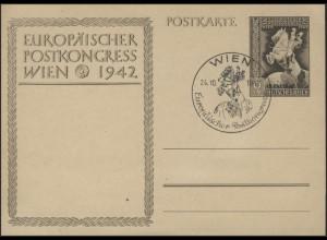 Postkarte P 295a Europäischer Postkongreß mit Aufdruck, SSt Wien 24.10.1942