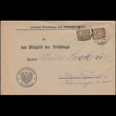 33 Dienstmarke als MeF auf Drucksache Reichsstag Büro BERLIN 17.1.1923