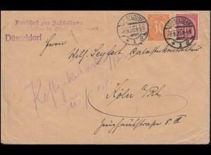20+24 Dienstmarken MiF Brief Ausschuss Kriegsschäden DÜSSELDORF 9.9.1920 n. Köln